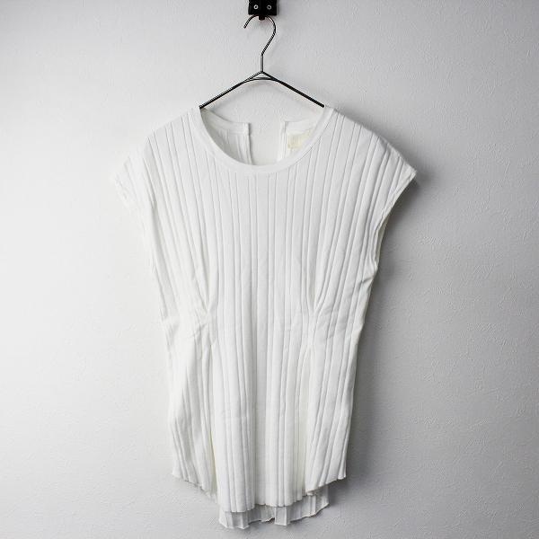 【オータムセール】2019SS 春夏 定価1万 R JUBILEE アールジュビリー ウエストタック フレンチスリーブ Tシャツ M/ホワイト トップス【2400011349378】