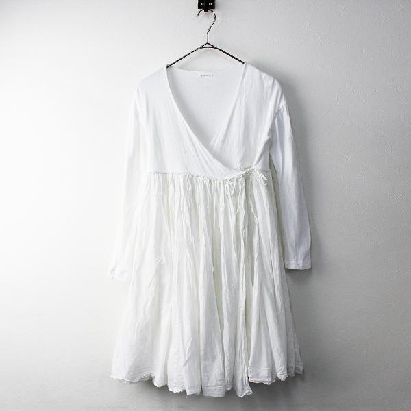 R&D.M.Co- オールドマンズテーラー カディコットン 切替 カシュクール ドレス/ホワイト 白 ワンピース 【2400011350947】