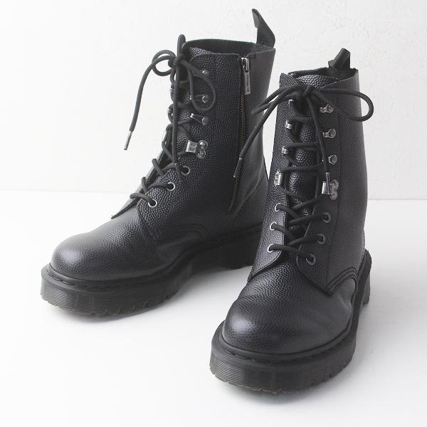 美品 定価4.3万 Dr.Martens ドクターマーチン CORE PRINT PARA BOOT サイドジップ ロング ブーツ UK9/メンズ ブラック【2400011351777】
