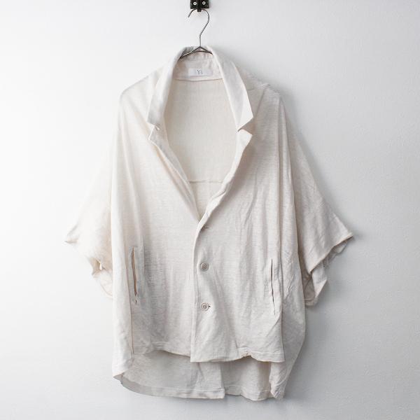 美品 Y's Yohji Yamamoto ワイズ ヨウジヤマモト リネン ワイド マエアキ ブラウス オーバーサイズ 2/オフホワイト【2400011351906】