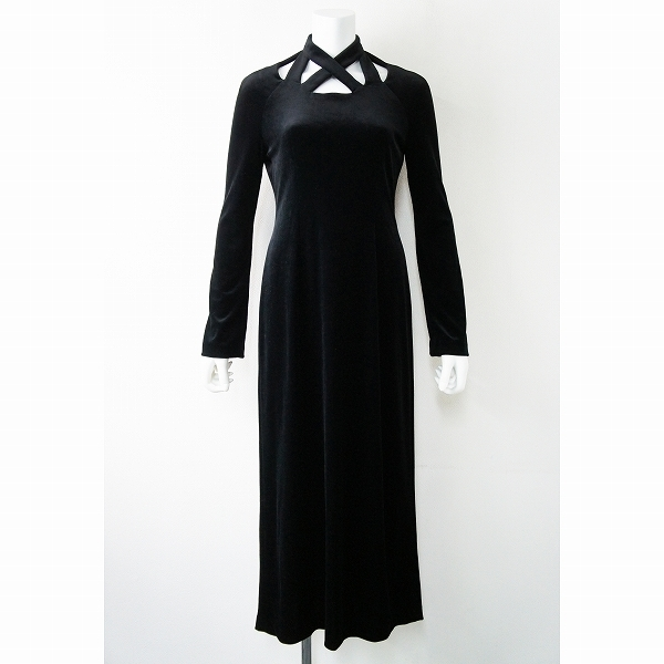 Sybilla シビラ ベロア ロング ワンピース 40/ブラック 黒 無地 長袖 ドレス【2400011359377】