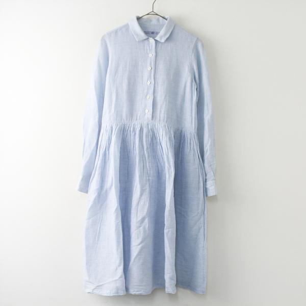 R&D.M.Co- オールドマンズテーラー リネン コットン ギャザー シャツ ドレス/ライトブルー フレア ロングスリーブ【2400011361028】