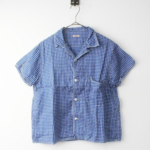 KAPITAL キャピタル リネン ギンガム ドット アロハシャツ S/ネイビー トップス 開襟 半袖 【2400011361172】