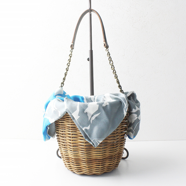 2017AW 秋冬 ebagos エバゴス シルクプリントスカーフ × ホースレザー バケツ型 かごバッグ/バスケット bag【2400011361943】