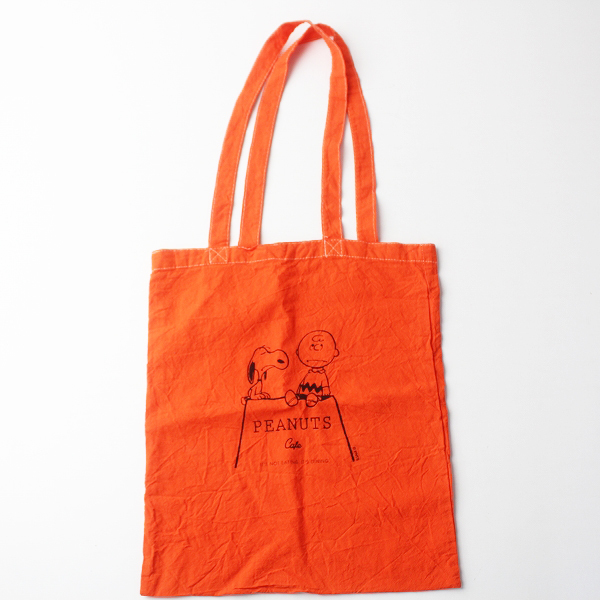 美品 PEANUTS Cafe ピーナッツカフェ スヌーピー プリント エコバッグ/オレンジ カバン 鞄 BAG【2400011364128】