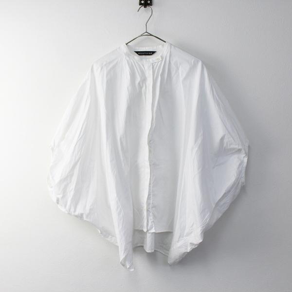 mizuiro-ind ミズイロインド オックスフォード ドルマン バンドカラー シャツ/ホワイト 白 無地 トップス【2400011365156】