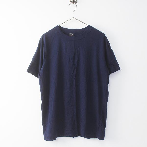 メンズ homspun ホームスパン コットン Tシャツ M/ネイビー 紺 トップス 無地 半袖 MENS【2400011365170】