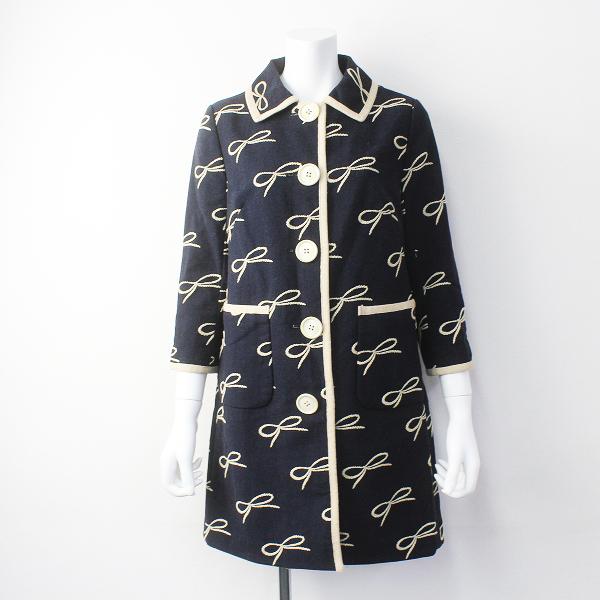 Lois CRAYON ロイスクレヨン リボン刺繍 ステンカラー コート M/ネイビー アウター 上着 長袖【2400011369956】