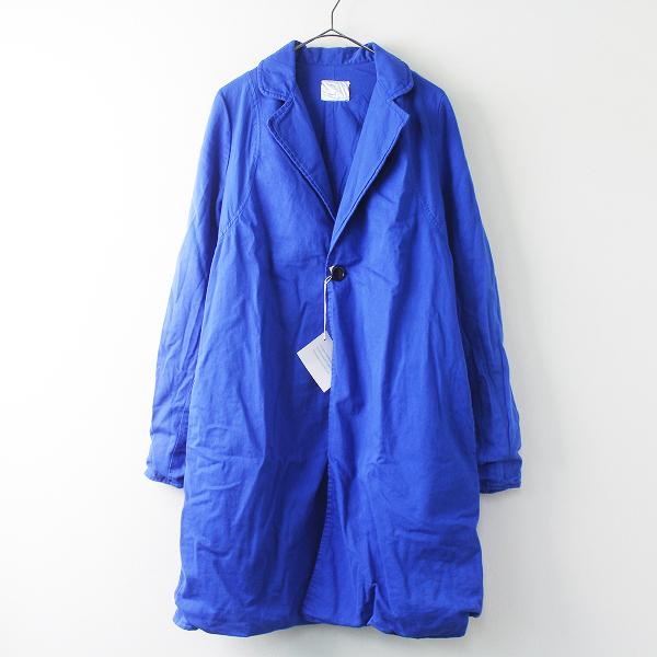 Yarmo ヤーモ WORK COAT ワーク コート/ブルー アウター 上着 羽織り 製品染め コットン 1つボタン ロング【2400011371294】