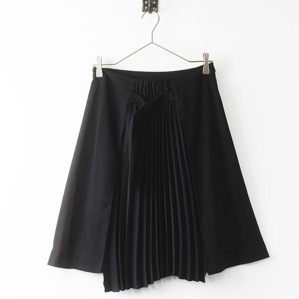 美品 Maison Margiela メゾンマルジェラ ウール アコーディオン プリーツ ベルト スカート 38/ブラック ボトムス ひざ丈【2400011372024】