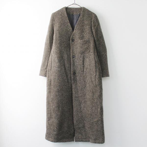 美品 定価6.6万 ゴーシュ ワッシャー メルトン ノーカラー ロング コート 2/ブラウン アウター 上着 羽織り【2400011372482】