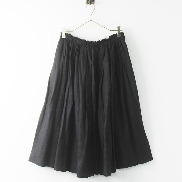 美品 Lisette リゼッタ リネン ギャザー フレア スカート 38/ブラック ボトムス【2400011372796】