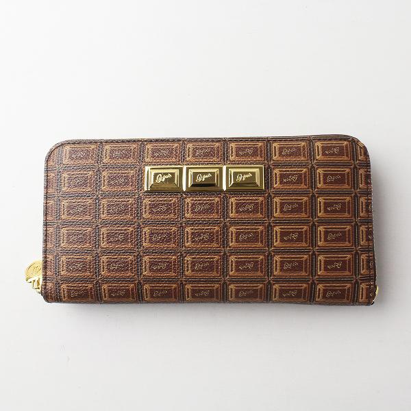 美品 Q-pot. キューポット チョコレート ロング ウォレット/ブラウン 小物 財布 ラウンドファスナー【2400011373342】