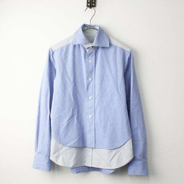 Y's Yohji Yamamoto ワイズ ヨウジヤマモト 変形 レイヤード オックスフォード シャツ 1/ブルー トップス【2400011373861】