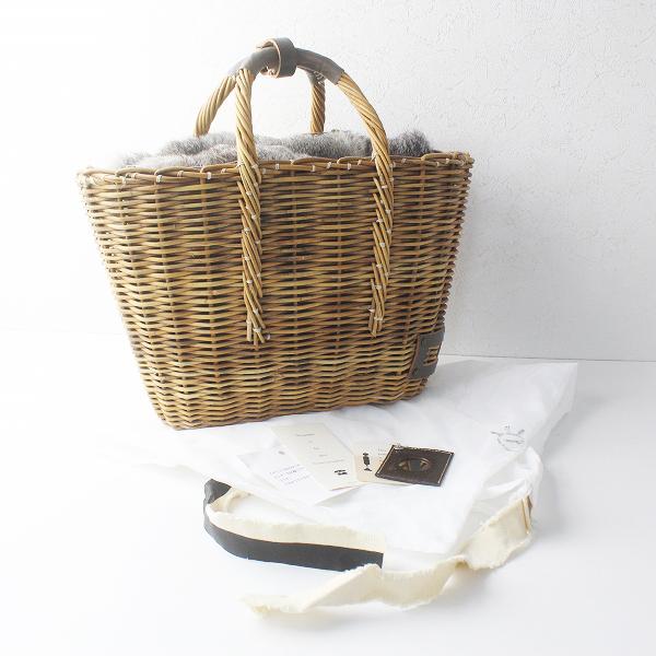 美品 ebagos エバゴス ラビットファー かぶせ ブライドル トート かごバッグ/鞄 BAG かばん カゴ 籠【2400011375087】