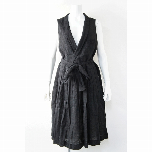 R&D.M.Co- オールドマンズテーラー リネン ベスト ドレス/ブラック ロング フレア ノースリーブ【2400011377104】