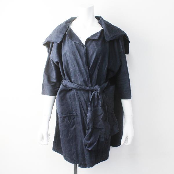 【スプリングセール】journal standard luxe DANIELA GREGIS ダニエラグレジス イタリア製 ベルト バッグ付き リネン コート/ネイビー【2400011378064】