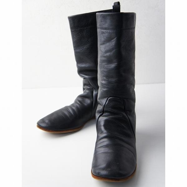 ebagos エバゴス レザー ミドル ブーツ 4.5/ブラック 靴 くつ ぺたんこ【2400011378774】