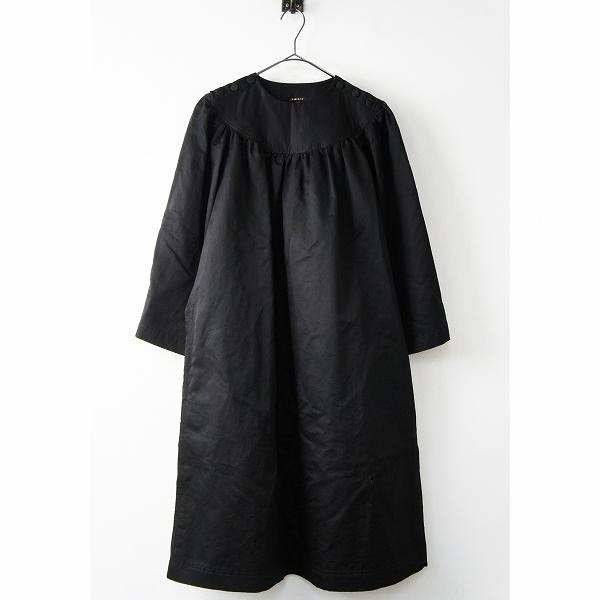 美品 R&D.M.Co- オールドマンズテーラー 肩ボタン コットン リネン ギャザー ワンピース M/ブラック ドレス 無地【2400011378798】