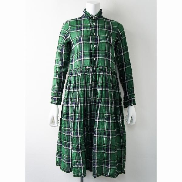 R&D.M.Co- オールドマンズテーラー チェック リネン ギャザー シャツ ドレス ワンピース S/グリーン フレア【2400011378859】