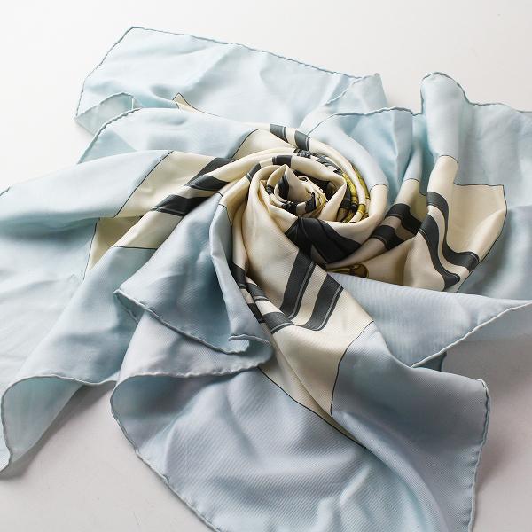 HERMES エルメス カレ90 BRIDES de GALA 式典用 馬靭 シルク100%/ライトブルー 大判スカーフ【2400011378941】