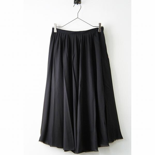 CELINE セリーヌ キュプラ ポリエステル プリーツ ギャザー スカート 36/ブラック ボトムス ロング【2400011379054】