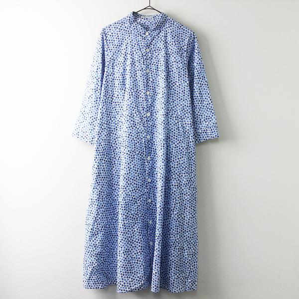 美品 Sensounico Lucruca センソユニコ ルクルカ フラワー プリント シャツ ドレス ワンピース 38/ブルー トップス【2400011380838】