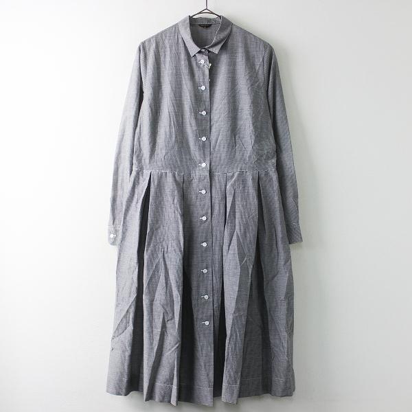 未使用品 R&D.M.Co- オールドマンズテーラー コットン シルク タック シャツ ドレス ワンピース M/ホワイト × ブラック【2400011380845】