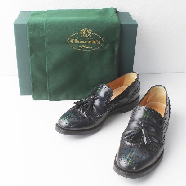 Church's チャーチ TAMARYN タマリン タータン ウィングチップ スリッポン 37.5/グリーン系 シューズ 靴 クツ【2400011384225】