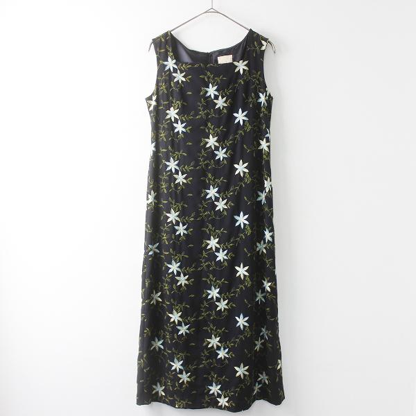 美品 Sybilla シビラ フラワー 刺繍 ノースリーブ ワンピース L/ ブラック トップス 花柄 ロング スリーブレス 【2400011385321】