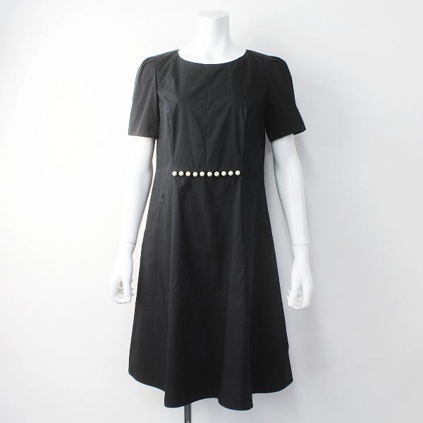 新品 定価4.6万 大きいサイズ TO BE CHIC トゥー ビー シック W5J02-801-09 コットン タイプライター ドレス 40/黒【2400011389534】-.