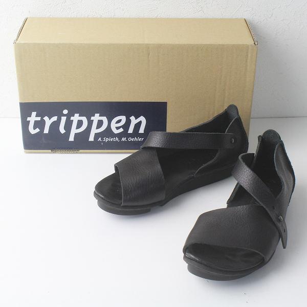 trippen トリッペン MARLENE レザー ストラップ サンダル 35/ブラック シューズ オープントゥ 【2400011392114】