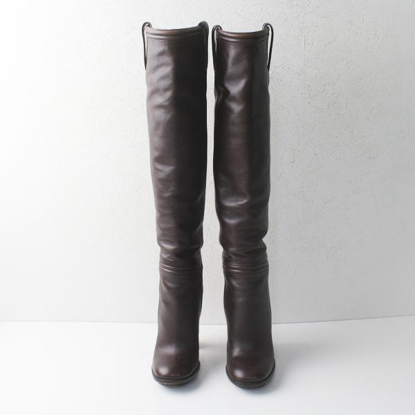 GUCCI グッチ レザー ロング ブーツ 37 1/2/ダークブラウン 靴 チャンキーヒール【2400011394378】