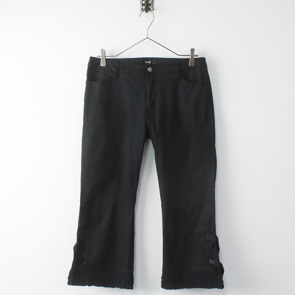 PINK HOUSE ピンクハウス 裾ピコフリル リボン パンツ L/ボトムス ブラック 黒【2400011397676】