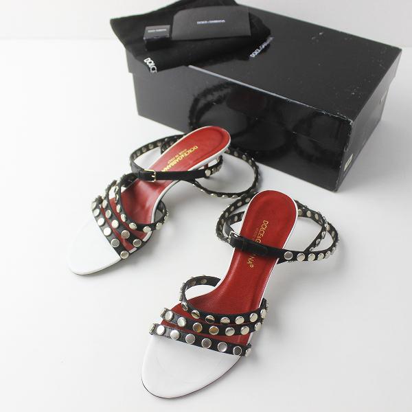Dolce&Gabbana ドルチェ&ガッバーナ スタッズ レザー ストラップ サンダル 37/レッド × ブラック ピンヒール【2400011399229】