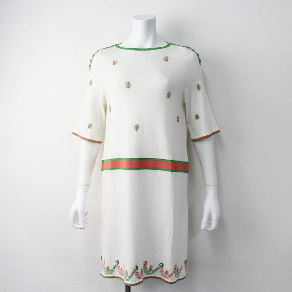 mina perhonen ミナペルホネン twitter ニット ワンピース 36/ホワイト 刺繍 コットンリネン ショートスリーブ【2400011399663】