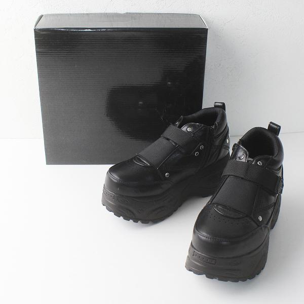 美品 YOSUKE ヨースケ 厚底 ベルティッド スニーカー 24.5/ブラック 靴 くつ シューズ【2400011400185】