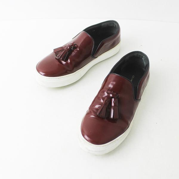 CELINE セリーヌ Slipon Sneaker with Tassel タッセル スリッポン 37/ボルドー シューズ 靴【2400011404039】