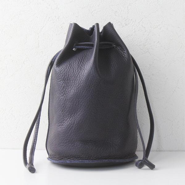 evam eva エヴァムエヴァ leather bag レザー ショルダー バッグ/ネイビー系 巾着 手提げ カバン【2400011405739】