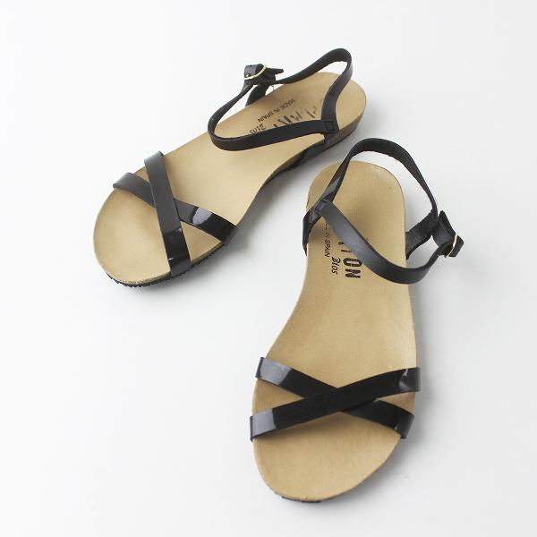 PLAKTON プラクトン エナメル ストラップ フラット サンダル 36/ブラック シューズ 靴 クツ【2400011412355】