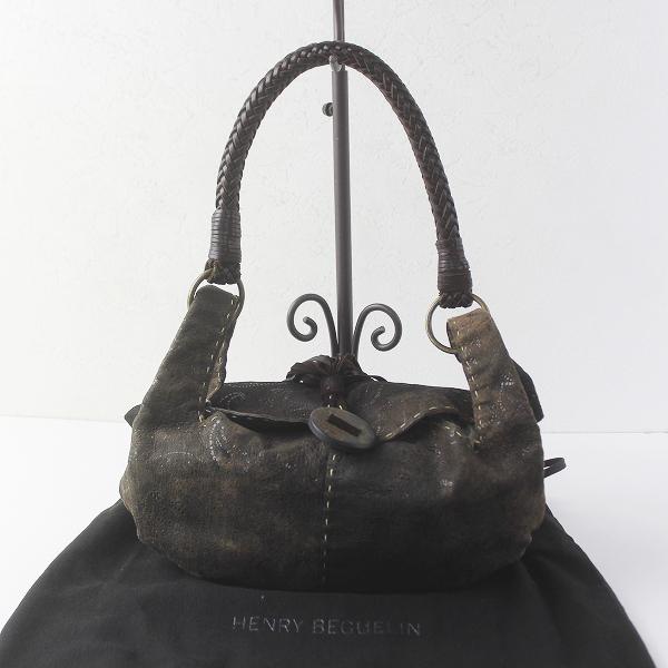 HENRY BEGUELIN エンリーベグリン オミノ刺繍 フリンジ レザー ワンショルダー バッグ/鞄 BAG かばん【2400011414151】