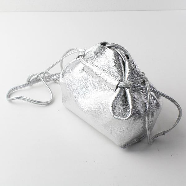 BEAURE ヴュレ 巾着 ミニ ショルダー バッグ/シルバー 鞄 かばん【2400011414595】
