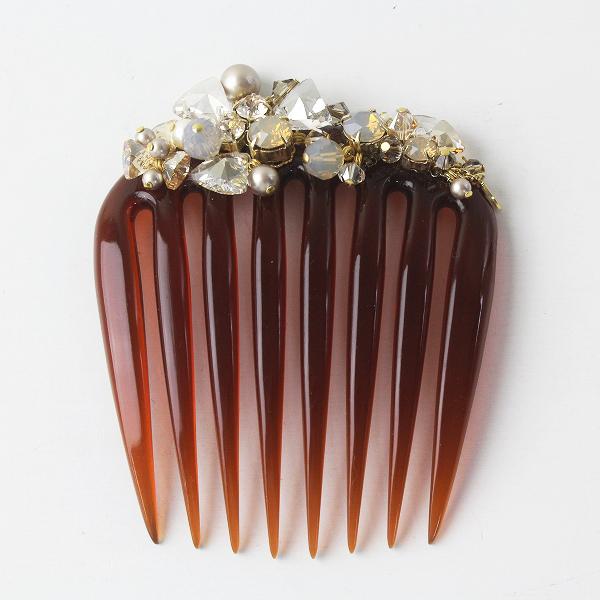 美品 COMPLEX BIZ コンプレックス ビズ ビジュー装飾 タルト ヘアコーム/ブラウン 茶色 小物【2400011430182】