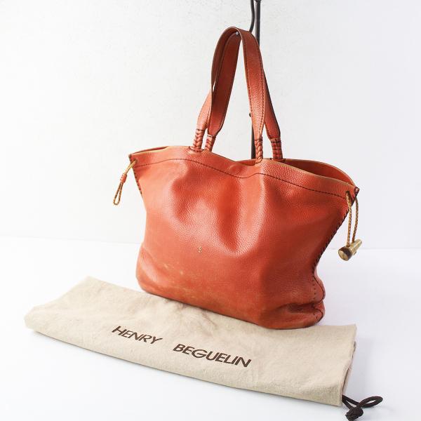 HENRY BEGUELIN エンリーベグリン オミノ刺繍 レザー トートバッグ/オレンジ カバン BAG 鞄 小物【2400011431073】