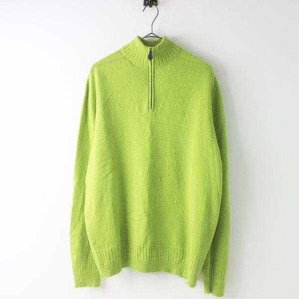 最高級 HERMES エルメス カシミヤ100% ハーフジップ ニット セーター メンズ XL/イエローグリーン 黄緑 トップス MENS【2400011434890】