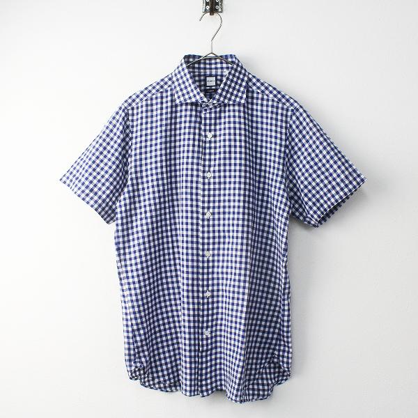 美品 BEAMS F ビームスエフ ギンガムチェック 半袖 シャツ /メンズ ブルー ホワイト トップス【2400011435705】