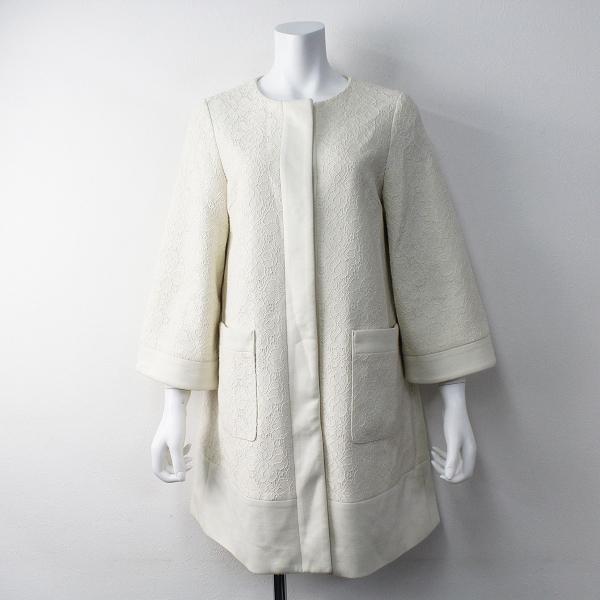 Lois CRAYON ロイスクレヨン フラワー レース ノーカラー コート M/オフホワイト アウター 上着 長袖【2400011437068】