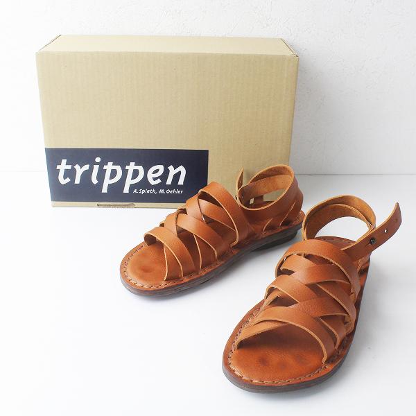 trippen トリッペン Nepal レザー ストラップ メッシュ サンダル 35/ブラウン シューズ フラット【2400011438645】