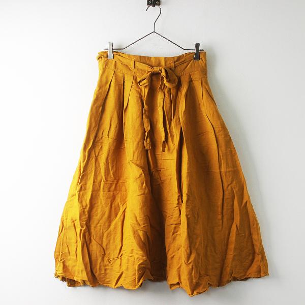 ナチュラン Heavenly ヘブンリー リネン混 ベルト フレア スカート/オレンジ ボトムス ウエストゴム【2400011444981】