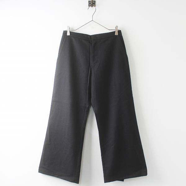 YOHJI YAMAMOTO ヨウジヤマモト ウール 裾 変形 フレア パンツ 2/クロ ボトムス 無地【2400011446299】